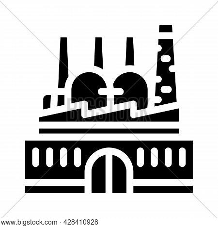 Power Plant Infrastructure Glyph Icon Vector. Power Plant Infrastructure Sign. Isolated Contour Symb