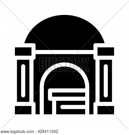 Funeral Crypt Glyph Icon Vector. Funeral Crypt Sign. Isolated Contour Symbol Black Illustration