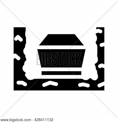 Coffin In Ground Glyph Icon Vector. Coffin In Ground Sign. Isolated Contour Symbol Black Illustratio