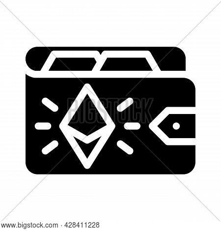 Ethereum Wallet Glyph Icon Vector. Ethereum Wallet Sign. Isolated Contour Symbol Black Illustration