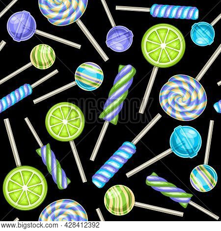 Vector Lollipop Seamless Pattern, Square Repeating Fruit Lollipops Background For Kids Textile, Post