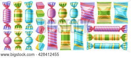 Vector Set Of Candies, Collection Of Cut Out Illustrations Of Different Vivid Candy And Cute Cartoon