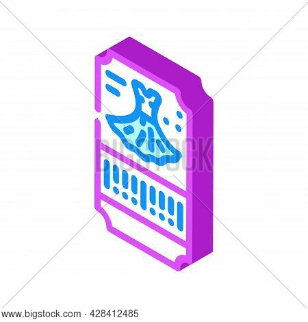 Dance Dress Ticket Isometric Icon Vector. Dance Dress Ticket Sign. Isolated Symbol Illustration