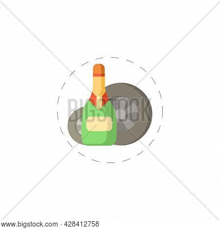 Champagne For Racing Winner Clipart. Champagne For Racing Winner Simple Vector Clipart. Champagne Fo