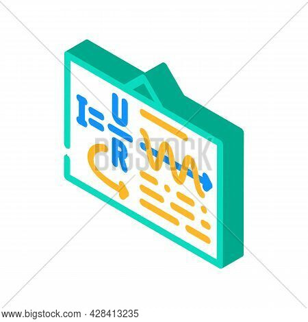Board With Ohm Law Isometric Icon Vector. Board With Ohm Law Sign. Isolated Symbol Illustration