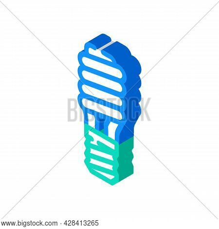 Electric Economy Lamp Isometric Icon Vector. Electric Economy Lamp Sign. Isolated Symbol Illustratio