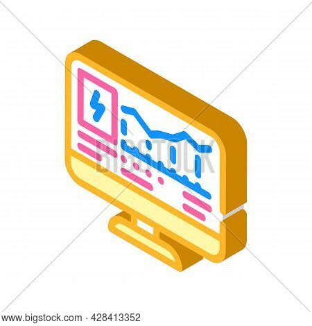 Computer Control Of Electricity Consumption Isometric Icon Vector. Computer Control Of Electricity C