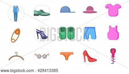 Clothing Flat Clipart Set With Dress, Shoes, Fashion Elements, Woman Heel