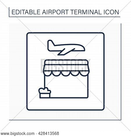 Retail Store Line Icon. Retailing Before Flight.pointer. Selling Customers Goods And Services. Airpo