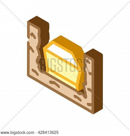 Coffin In Ground Isometric Icon Vector. Coffin In Ground Sign. Isolated Symbol Illustration
