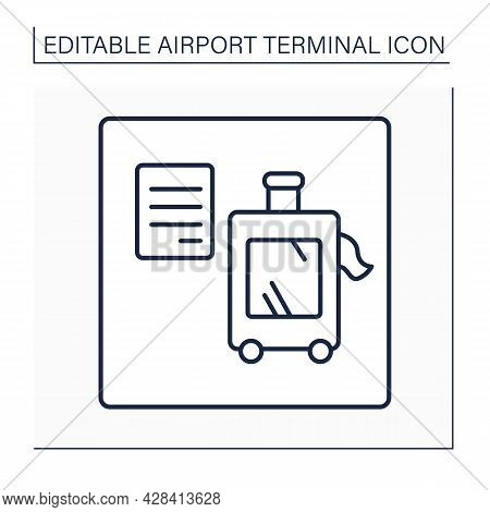 Baggage Claim Line Icon. Reclaim Area. Pointer. Passengers Claim Checked-in Baggage After Disembarki