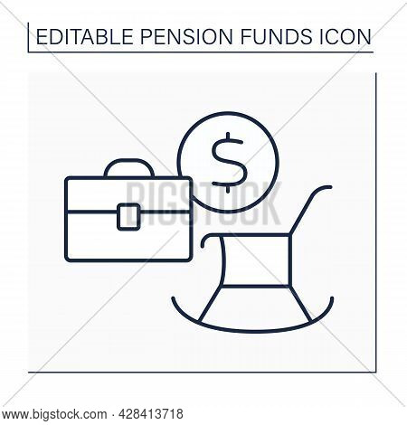 Employment Based Pension Line Icon. Saving For Retirement Through Contributions Deducted Direct From