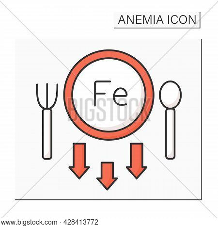 Anemia Color Icon. Lack Of Iron In Diet. Absence Irons In Meal Routine. Health Protection Concept. I