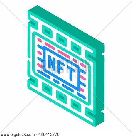 Nft Movies Isometric Icon Vector. Nft Movies Sign. Isolated Symbol Illustration