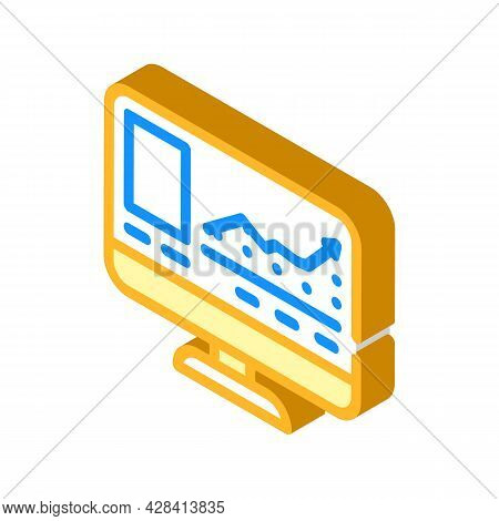 Virtual Auction Isometric Icon Vector. Virtual Auction Sign. Isolated Symbol Illustration