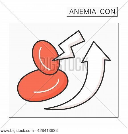 Anemia Color Icon. Disease Symptoms. High Rates Of Red Blood Cell Production. Health Protection Conc