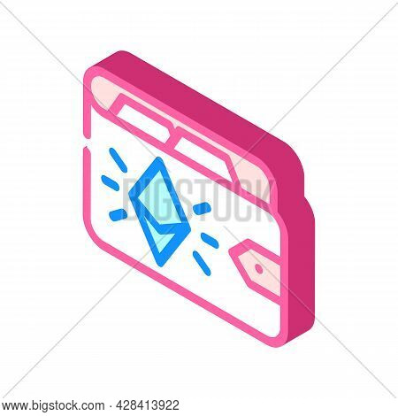 Ethereum Wallet Isometric Icon Vector. Ethereum Wallet Sign. Isolated Symbol Illustration