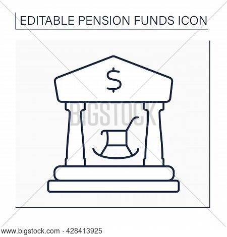 Public Pension Line Icon. Payments Based On Length Of Service And Average Salary. Central, State, Or