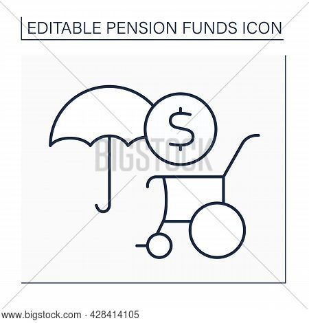 Disability Pension Line Icon. Individual Insurance. Physical Or Mental Impairment. Disability Paymen
