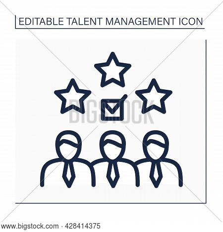 Employee Valuation Line Icon.unique Set Of Benefits. Employees Receive Skills, Capabilities, And Exp
