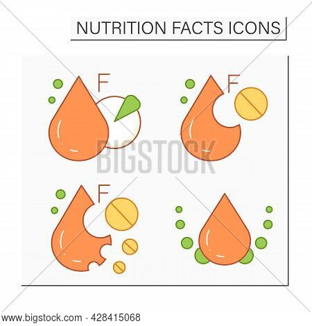 Nutrition Facts Color Icons Set. Oleic And Linoleic Acid. Total And Saturated Fat. Nutrition Facts C