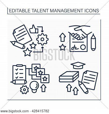 Talent Management Line Icons Set. Agreement, Training, Self-improving, Competency Models. Improving