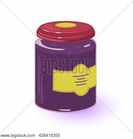 Cartoon Black Currant Jam In Glass Container With Twist. Vector Summer Harvest From Grandmother Farm