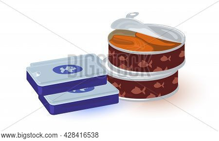 Cartoon Salted Salmon In Round Tin And Packed Fish Paste. Vector Seafood, Protein Cooked Products. C