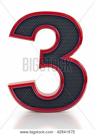 Number 3 symbol with grille mesh inside isolated on white background.