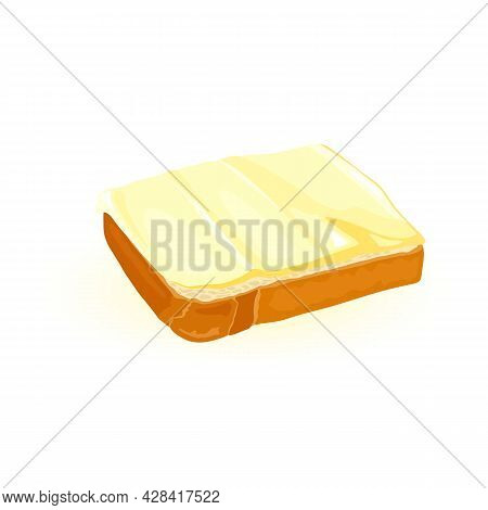 Cartoon Bread And Butter. Vector Sandwich With Yummy Butter Or Spread. Delicious Morning Breakfast,