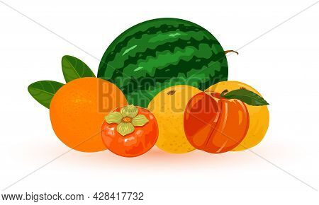 Summer Ripe Fruit With Yellow Flesh, Product From Farm. Vector Juicy And Water Green Fruit, Light An