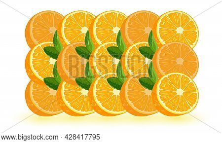 Whole Orange Fruit Divided In Parts With Green Leaves. Vector Summer Fruit, Organic Natural Ingredie