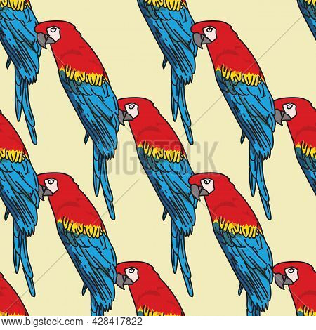 Vector Orange Background Tropical Birds, Parrots, Macaw, Exotic Cockatoo Birds. Seamless Pattern Bac