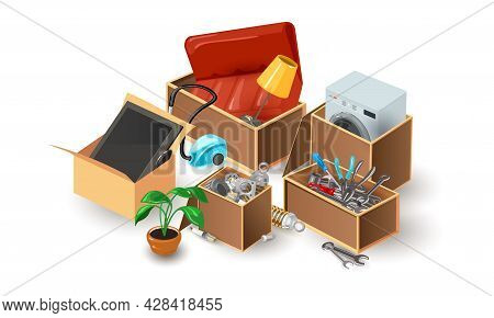 Cartoon Furniture From Flat Or House, Sofa, Lamp, Vacuum Cleaner, Plant, Tv, Washing Machine. Vector