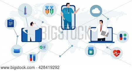 Telemedicine E-health Telehealth Online Doctor Consultation Using Digital Online Internet Device Lik