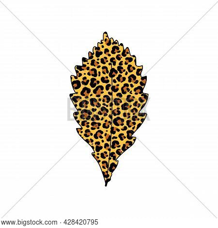 Vector Illustration Of Autumn Tree Leaf With Leopard Print Pattern Isolated On White Background. Fal