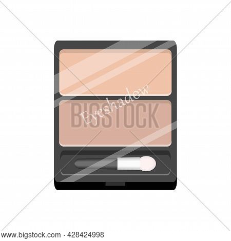 Vector Palette With Eye Shadows. Rectangle Eyeshadow Palette With Two Pastel Colors. Professional Ey