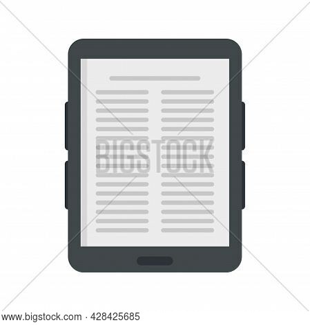Paper Ebook Icon. Flat Illustration Of Paper Ebook Vector Icon Isolated On White Background