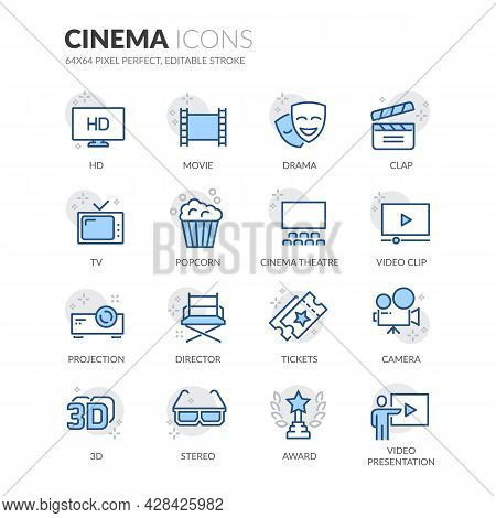Simple Set Of Cinema Related Vector Line Icons. Contains Such Icons As Movie Clip, Popcorn, Tickets