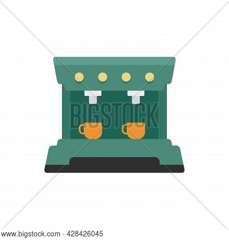 Mug Cofffee Machine Icon. Flat Illustration Of Mug Cofffee Machine Vector Icon Isolated On White Bac