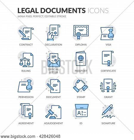 Simple Set Of Legal Documents Related Vector Line Icons. Contains Such Icons As Declaration, Permiss