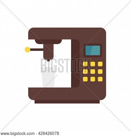 Steam Coffee Machine Icon. Flat Illustration Of Steam Coffee Machine Vector Icon Isolated On White B