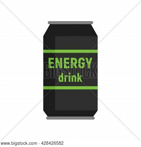 Energy Drink Tin Icon. Flat Illustration Of Energy Drink Tin Vector Icon Isolated On White Backgroun