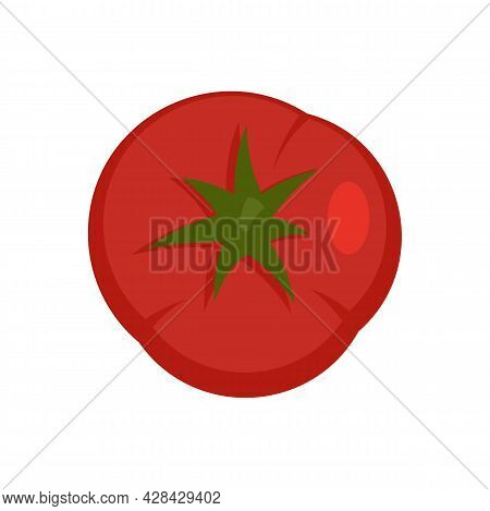 Top View Tomato Icon. Flat Illustration Of Top View Tomato Vector Icon Isolated On White Background