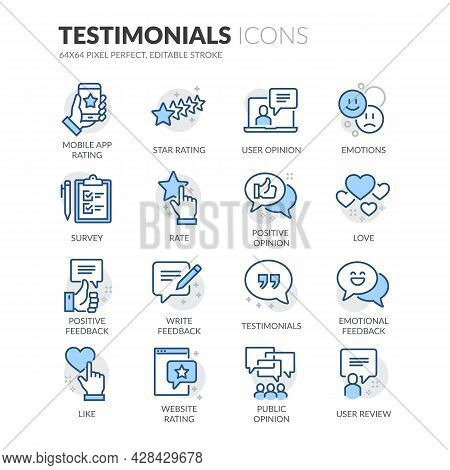 Simple Set Of Testimonials Related Vector Line Icons. Contains Such Icons As Star Rating, Feedback,