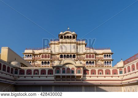 Rajasthan, India - 2nd December, 2019:beautiful Exterior Facade Of The Chandra Mahal Palace In Jaipu