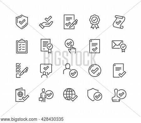 Simple Set Of Approve Related Vector Line Icons. Contains Such Icons As Protection Guarantee, Accept