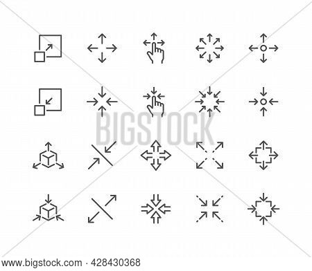 Simple Set Of Scaling Related Vector Line Icons. Contains Such Icons As Increase, Decrease, Resize A