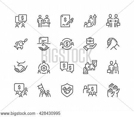 Simple Set Of Business Cooperation Related Vector Line Icons. Contains Such Icons As Partnership, Sy