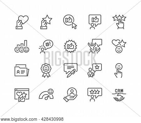 Simple Set Of Customer Satisfaction Related Vector Line Icons. Contains Such Icons As Crm, User Feed